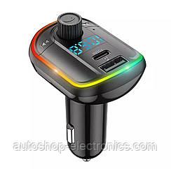 Стерео блютуз ФМ модулятор + AUX out + Громкая связь + Зарядное USB + Type C + microSD + Вольтметр + RGB