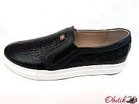 Туфли-слипоны, балетки женские Oog кожа рептилии черные Oog0015