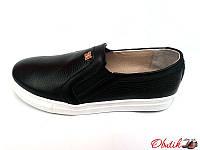 Туфли-слипоны, балетки женские Oog кожаные черные Oog0016