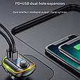 Стерео блютуз ФМ модулятор + AUX out + Громкая связь + Зарядное USB + Type C + microSD + Вольтметр + RGB, фото 3