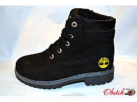 Ботинки зимние подростковые Timberland нубук черные Т0008