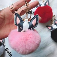 Меховый брелок на сумку, рюкзак, ключи - Собака помпон разные цвета