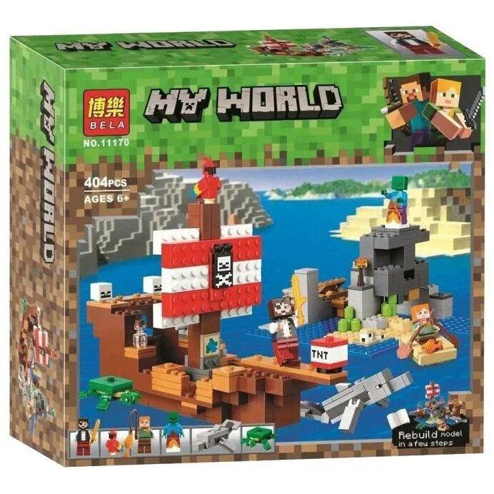 """Конструктор майнкрафт BELA Minecraft """"Приключения на пиратском корабле"""" 404 детали"""