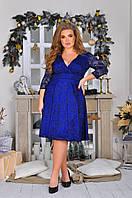Женское нарядное ажурное приталенное платье больших размеров, фото 1