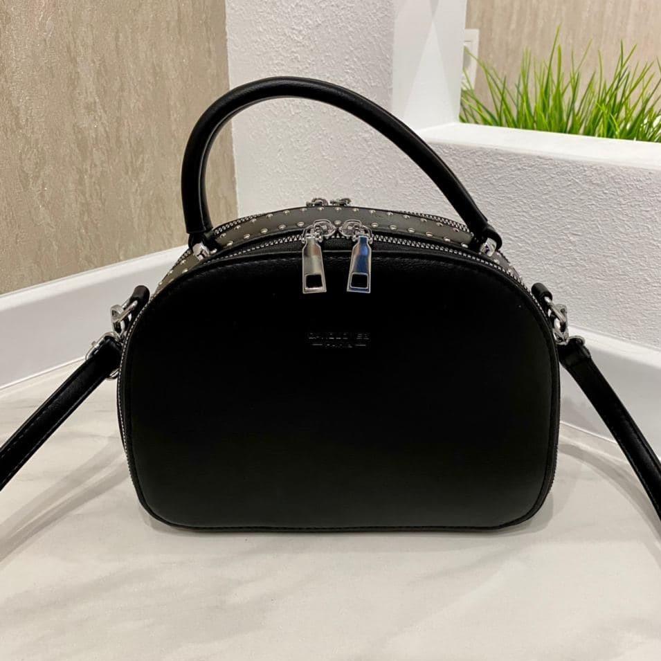 Женская сумка David с заклепками черная СДЗ558