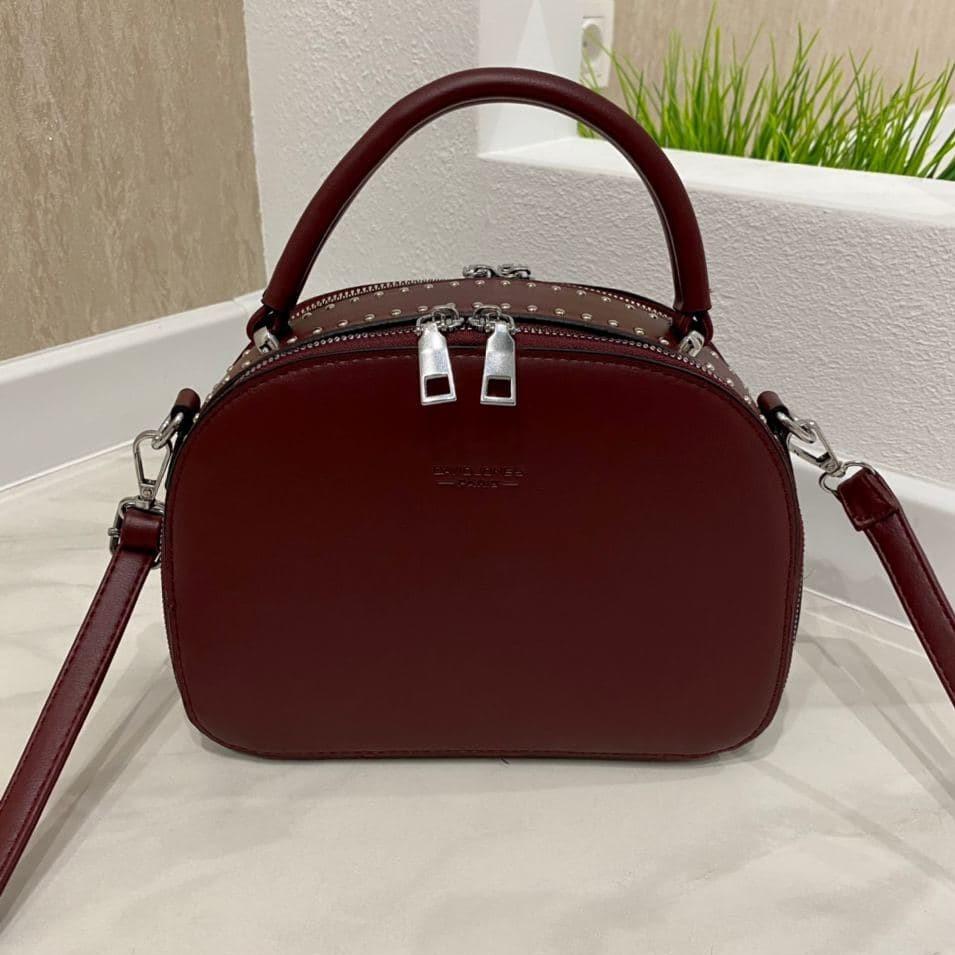 Женская сумка David с заклепками бордовая СДЗ559