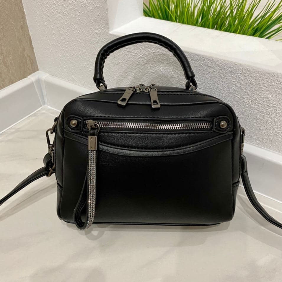 Женская сумка на 2 отделения Karlos Marconi черная КМ32