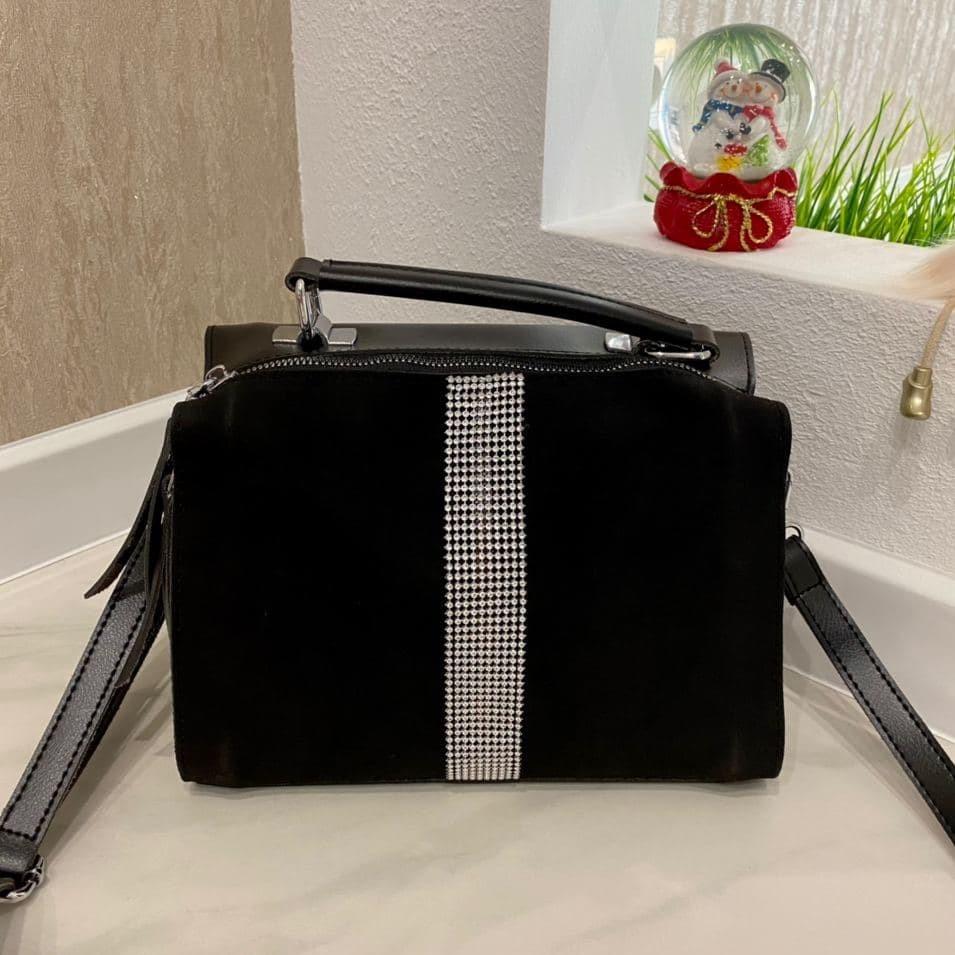 Женская сумка  Diamond со стразами черная ЛСВ568