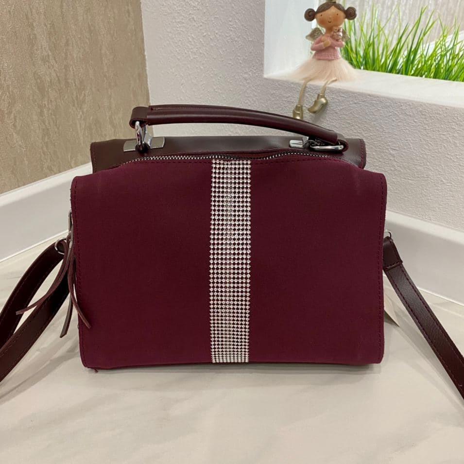 Женская сумка  Diamond со стразами бордовая ЛСВ569