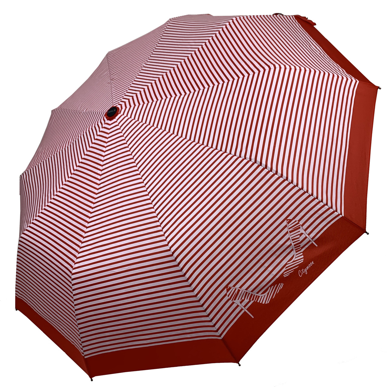 Женский зонт-полуавтомат в полоску, с принтом туфелек, Calm Rain, красный, 220-4