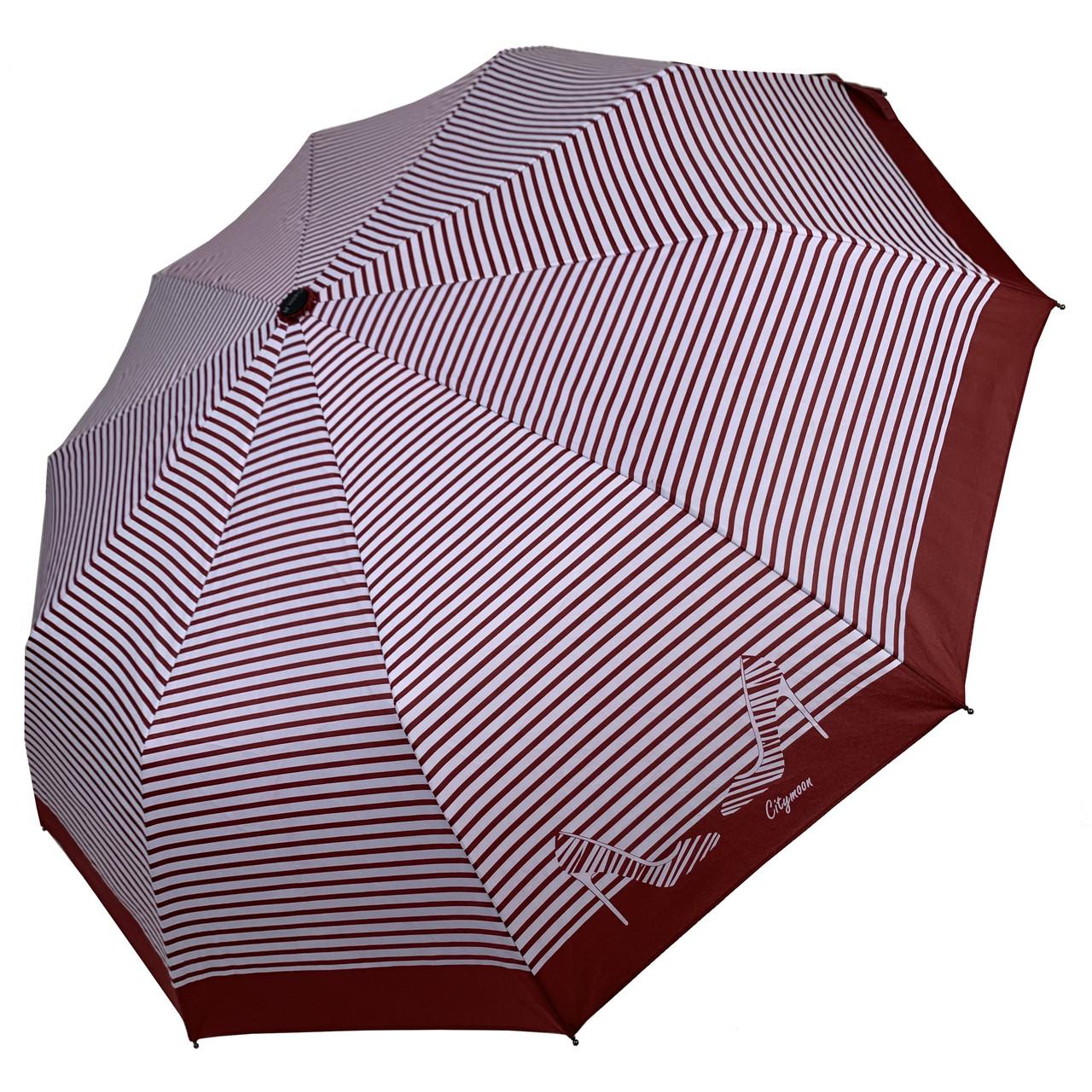 Женский зонт-полуавтомат в полоску, с принтом туфелек, Calm Rain, бордовый, 220-6