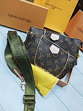 Модна жіноча сумка Louis Vuitton Луї Вітон 3 в 1 ремінець хакі (повний комплект)