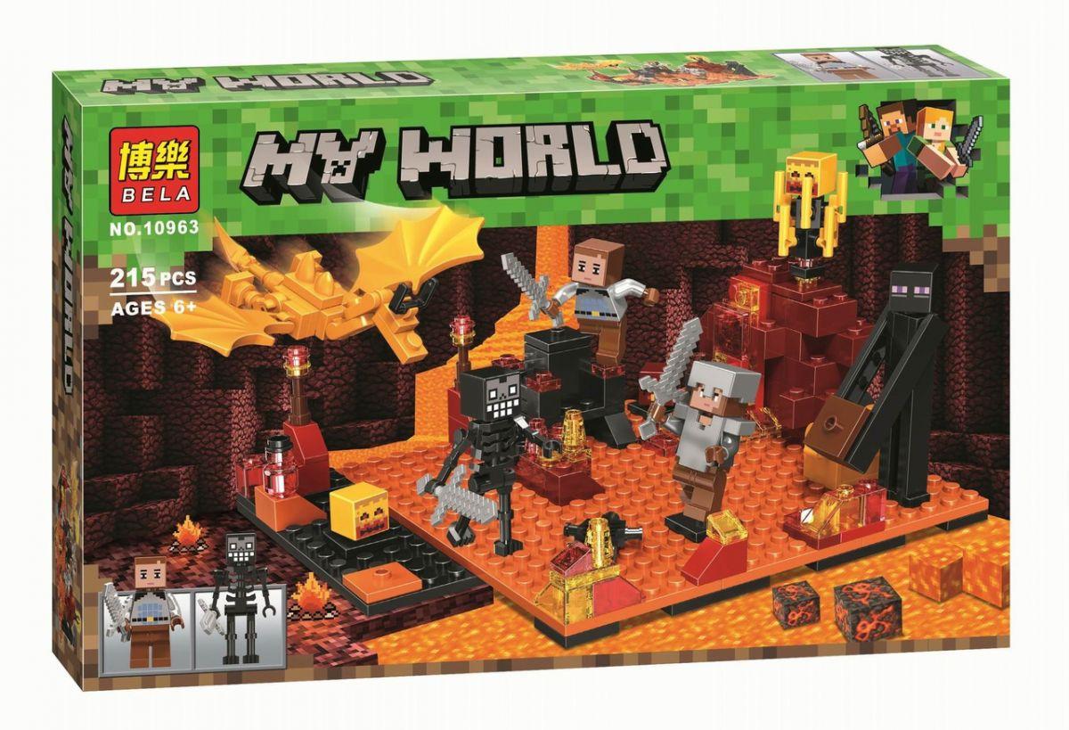 """Конструктор майнкрафт BELA Minecraft """"Нападение в нижнем миру"""" 215 детали"""
