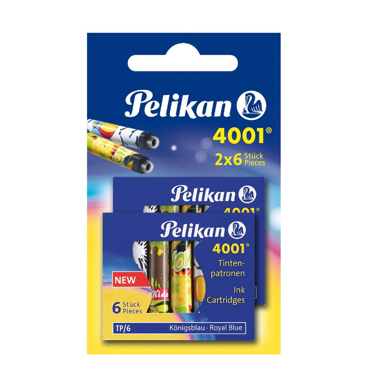 Чорнильні картриджі короткі 12шт Pelikan 4001 Fancy Royal Blue сині що стираються