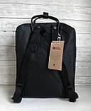 Молодежный женский рюкзак сумка канкен 16 литров Fjallraven Kanken No.2 черный с черными ручками, фото 7
