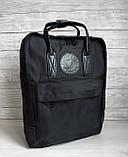 Молодежный женский рюкзак сумка канкен 16 литров Fjallraven Kanken No.2 черный с черными ручками, фото 2