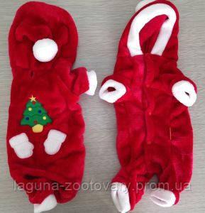 """Теплый комбинезон  для собак """"Санта"""", размеры S, M,  L, XL, красный"""