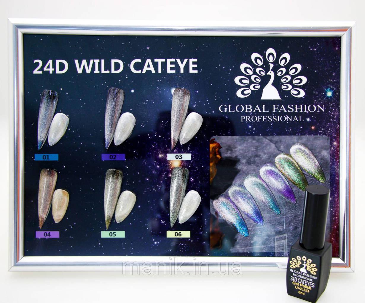 Гель лак кошачий глаз Global 24D Wild Cateye