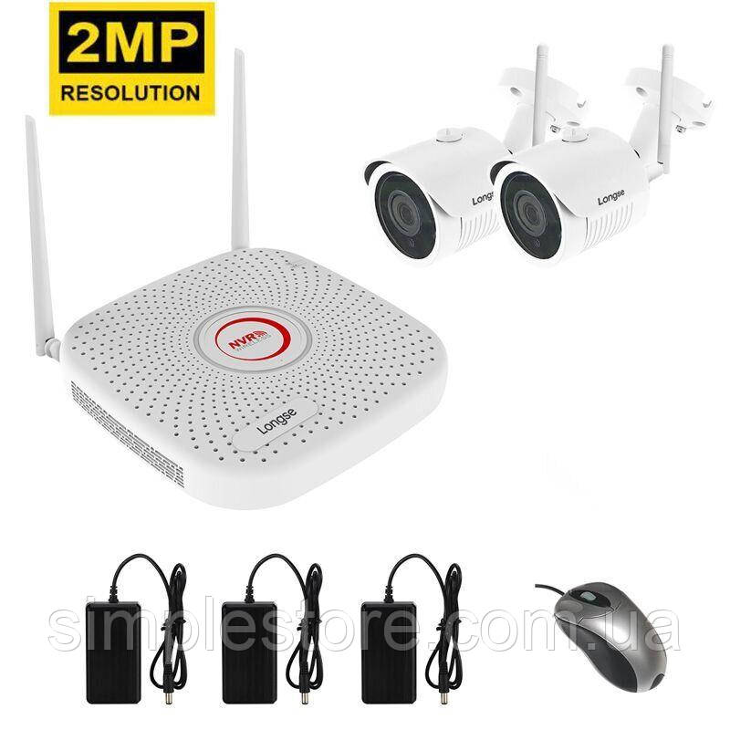 Комплект видеонаблюдения беспроводной на 2 камеры Longse WIFI 3604-2Mp Kit 2, 300 метров, 2 Мегапикселя,