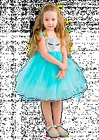 Пышное платье-единорог с пайетками для девочки
