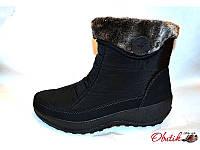 Дутики-ботинки женские зимние на меху черные KF0114