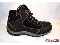 Ботинки подростковые-детские зимние кожаные черные на меху Украина Uk0103