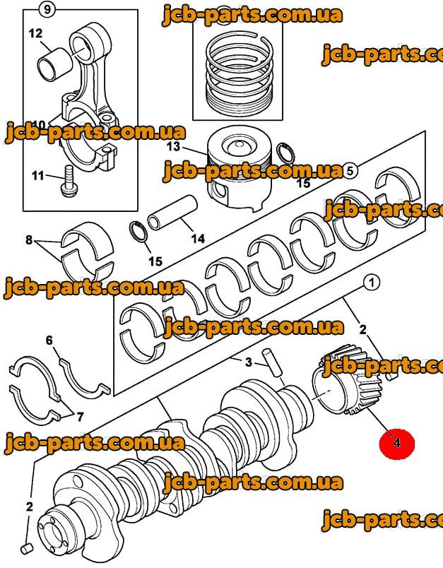 Шестерня коленвала 02/801838 для JCB JS240