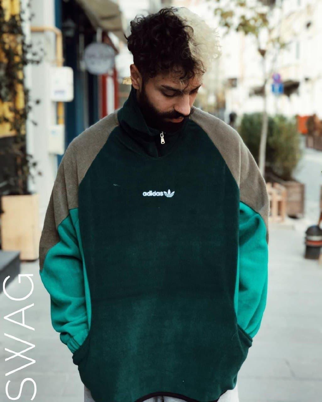 Теплая кофта худи Adidas M683 зеленая