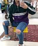 Теплая кофта худи Adidas M685 фиолетово-зеленая, фото 5