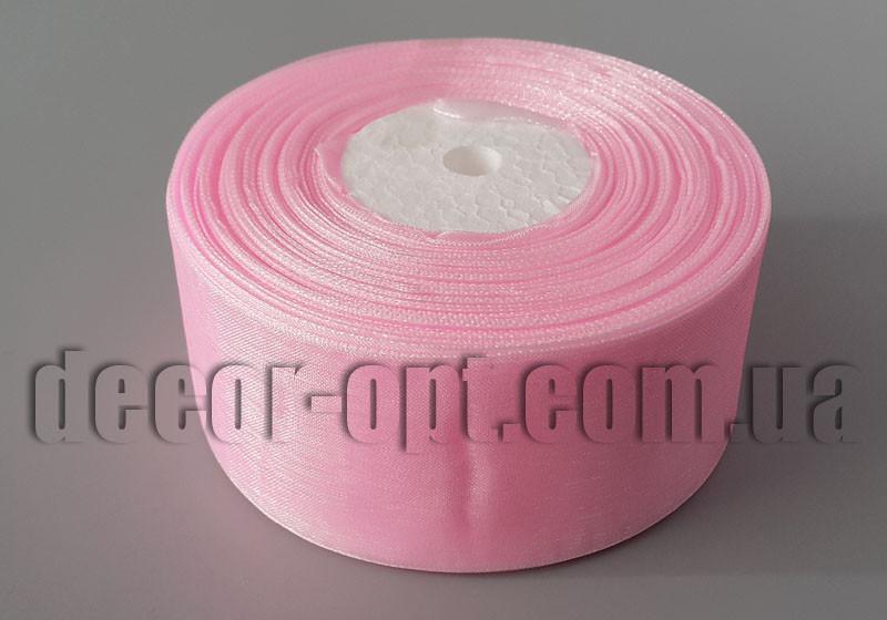 Лента органза светло-розовая 4 см 50ярд арт.4