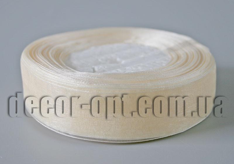 Лента органза кремовая 2,5 см 50ярд