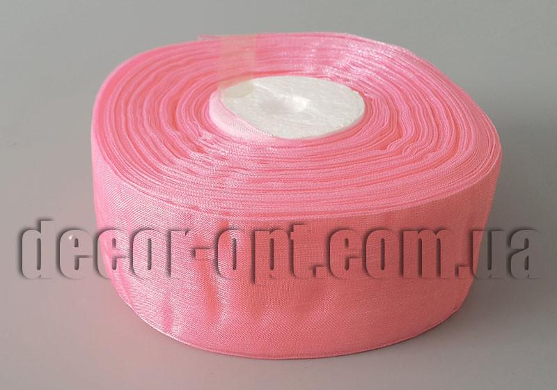 Лента органза оттенок розового 4 см 50ярд  арт 94new