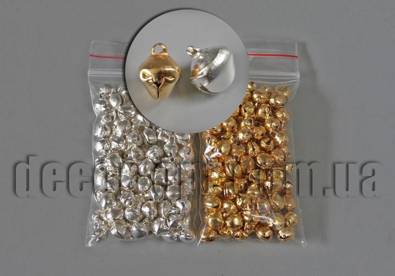 Бубенчики для браслетов золото-серебро (колокольчики) 6мм/100шт