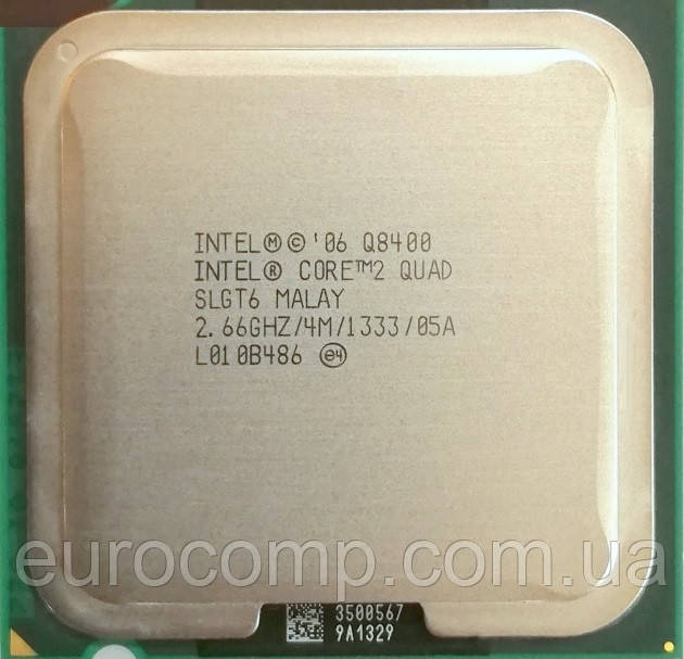 Процессор для компьютера Intel Core 2 Quad Q8400, 4 ядра 2.66ГГц, LGA 775