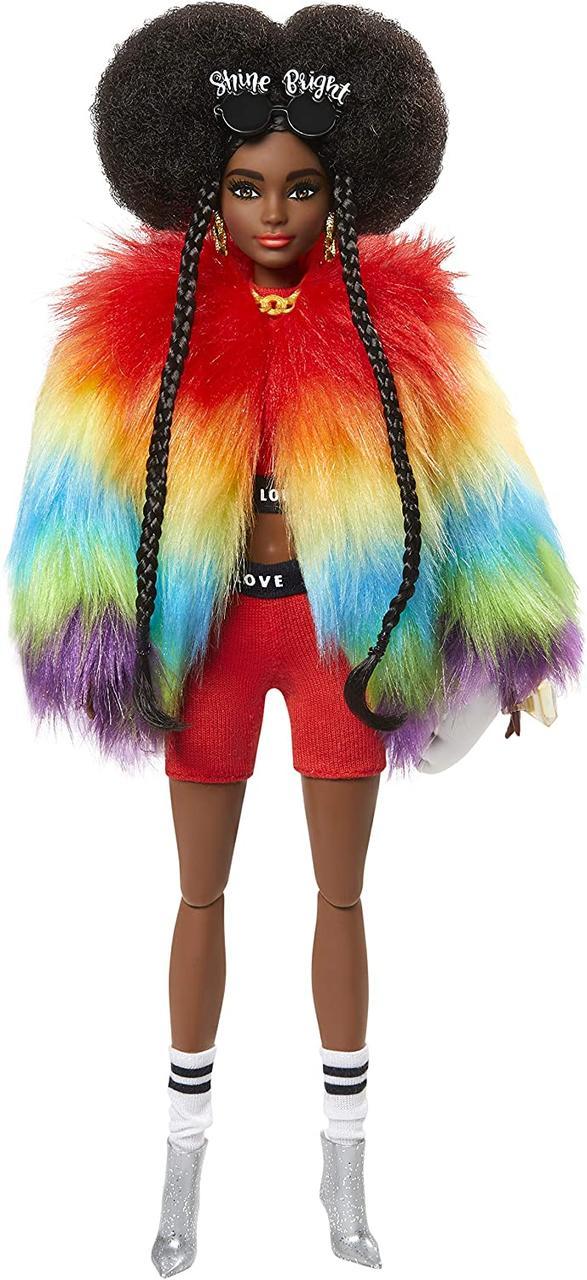 Кукла афроамериканка Барби Экстра в радужном манто Barbie Extra Doll #1 in Furry Rainbow Coat оригинал