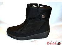 Дутики-ботинки женские зимние на меху черные KF0115