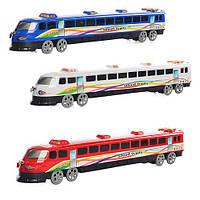 Поезд инер-й, на колесиках, 3 цвета, в кульке, 36-6-4см /192/ (3399)