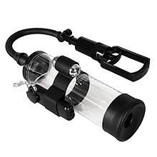 Вакуумная помпа с вибрацией для увеличения пениса Powerpump MAX Vibrating Black&Clear - Бесплатная доставка!