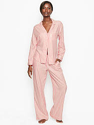 Фланелевая Пижама Victoria's Secret Shimmer Flannel PJ Set, Розовая в полоску L