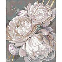 Картины по номерам 40×50 см. Идейка (без коробки) Белый пион с золотой краской (КНО 3115)