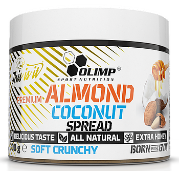 Миндаль, кокос, мед Olimp Premium  Almond Coconut Spread soft crunchy( 300g)