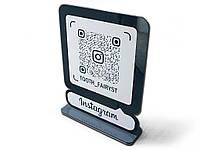Инстаграм-визитка с QR кодом из акрила 200х250мм (Основание: Акрил металлик (серебро или золото); )