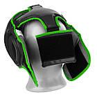 Боксерський шолом тренувальний PowerPlay 3068 PU + Amara Чорно-Зелений XS, фото 4