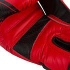 Боксерські рукавиці PowerPlay 3023 Червоно-Чорні [натуральна шкіра] 14 унцій, фото 3