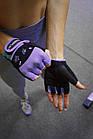 Рукавички для фітнесу PowerPlay 3492 жіночі Чорно-Фіолетові M, фото 9