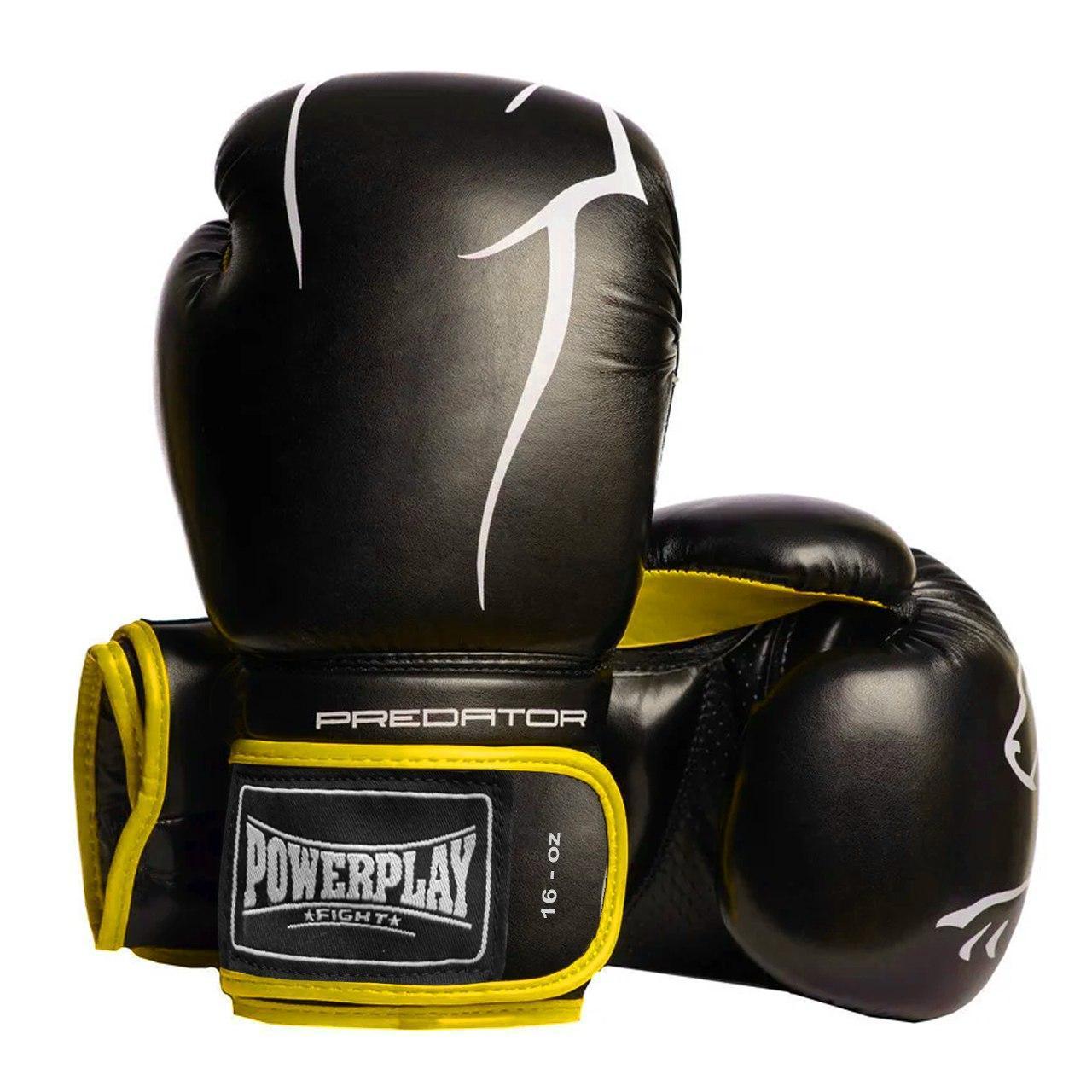 Боксерські рукавиці PowerPlay 3018 Чорно-Жовті 16 унцій