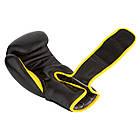 Боксерські рукавиці PowerPlay 3018 Чорно-Жовті 16 унцій, фото 3