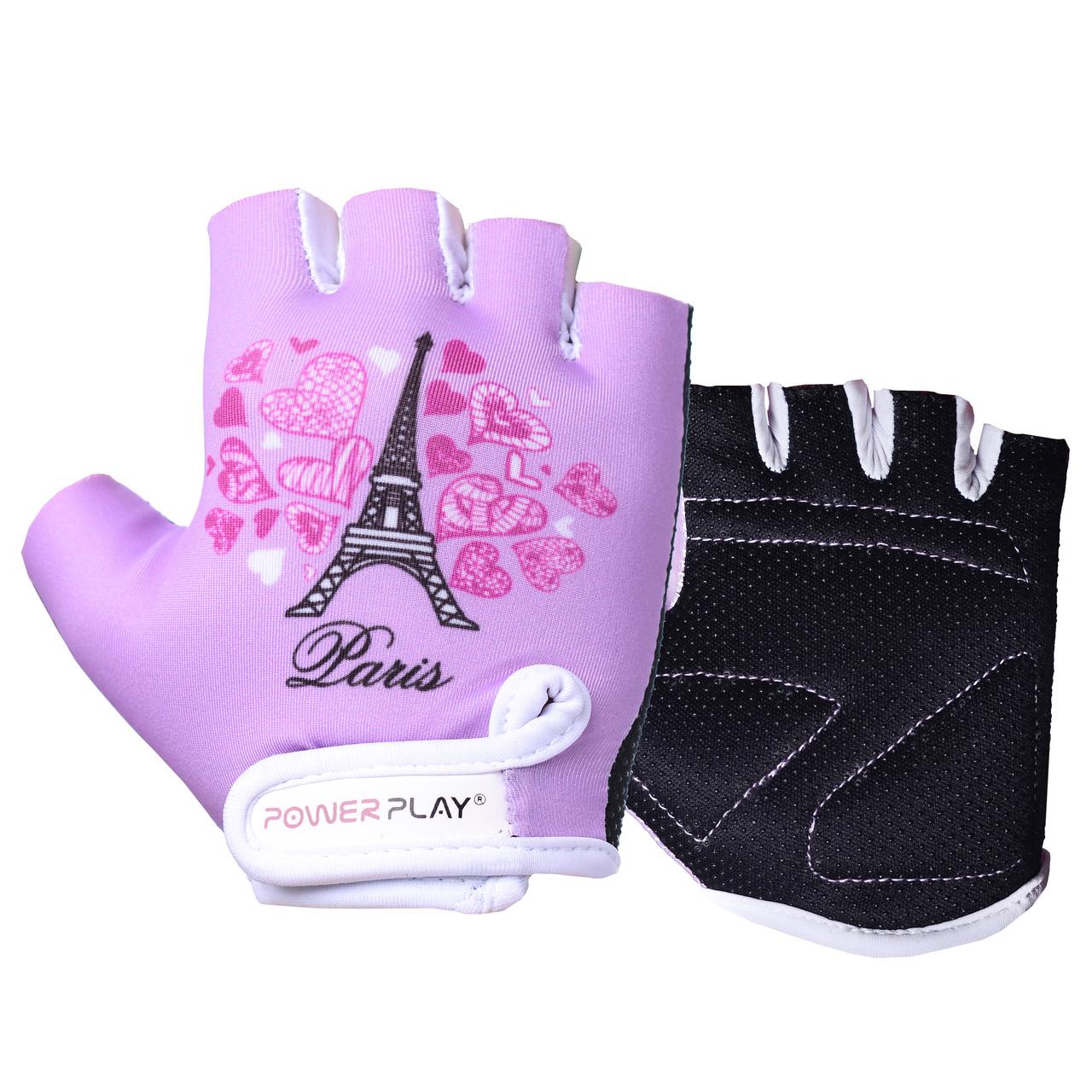 Велорукавички PowerPlay 001 Париж фіолетові XS