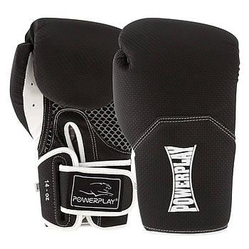 Боксерські рукавиці PowerPlay 3011 Чорно-Білі карбон 14 унцій