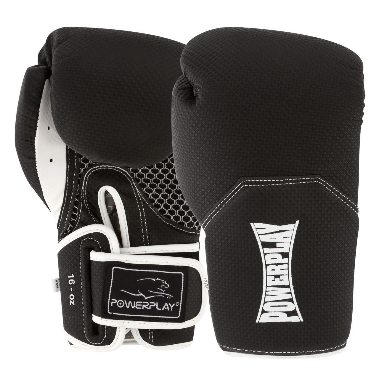 Боксерські рукавиці PowerPlay 3011 Чорно-Білі карбон 16 унцій